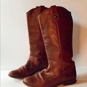 Frye Melissa cognac riding boots 9 1/2 button